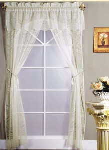 Lace German Curtains With Rope Tassel Tiebacks And Valance