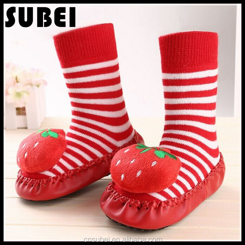 Wholesale baby cartoon tube leather skidder shoe socks