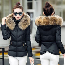 New Winter Women Thicken Cotton Fur Collar Hooded Coat Down Short Parka Jacket