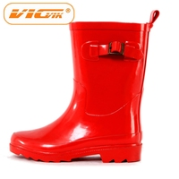 Girls red color wellies with buckle rubber rain boots wholesale