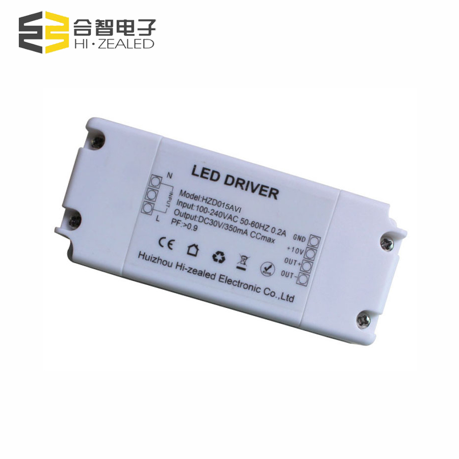 0.95 High PF 15W 350mA CE isolated Power Supply 0-10v dimming led driver