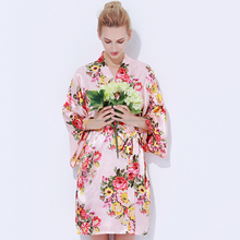 Factory Get Ready To Ship Stock 16 Colors Floral Satin Robe