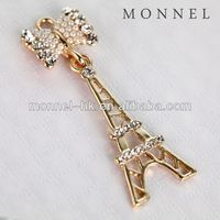 H418-1 Monnel 2015 Custom Made Luxury White Pearl Bow France Eiffel Paris Tower Metal DIY Charm Necklace Pendant