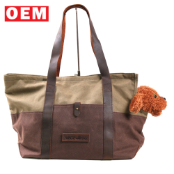 YLM custom portable small pet dog cat travel carrier waxed canvas tote handbag for outdoor