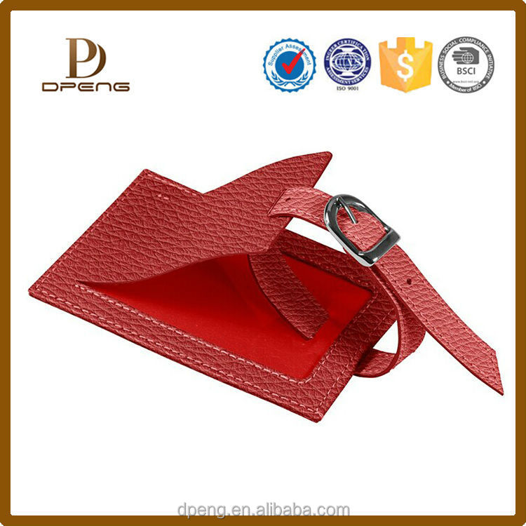 Customized logo high quality genuine leather hotel luggage tag