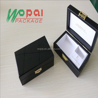 new arrive luxury high quality shinning wood mdf material polished varnish lock pu leather custom wooden box