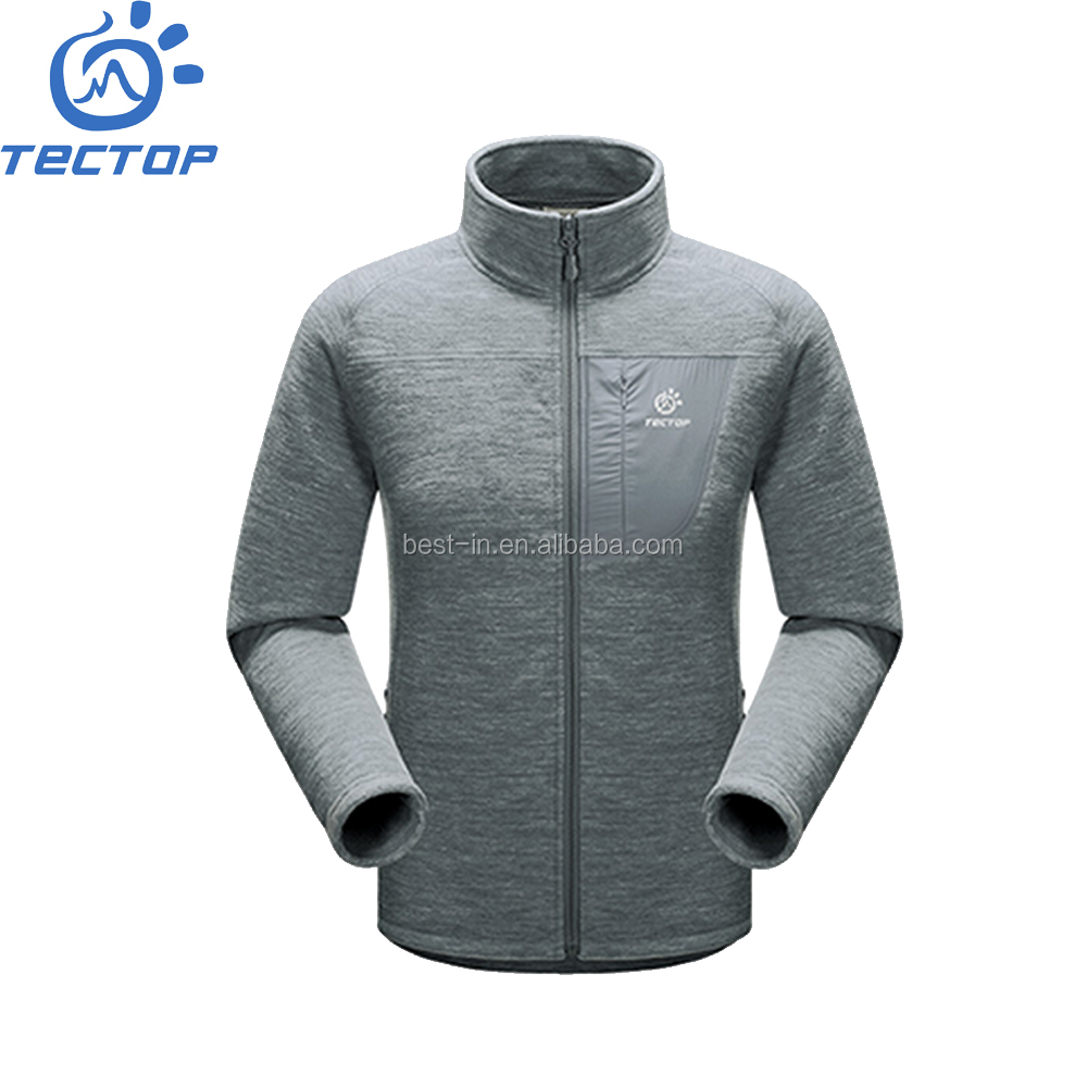 Men's Warm Windstopper Fashion Polar Fleece Grey Jacket Compounded 320g