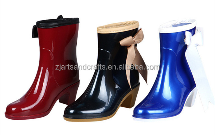 Wholesale injection high heel jelly pvc rain boot for women