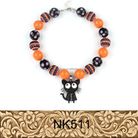 New chunky statement cat pendant halloween plastic bead necklace for kids for sale