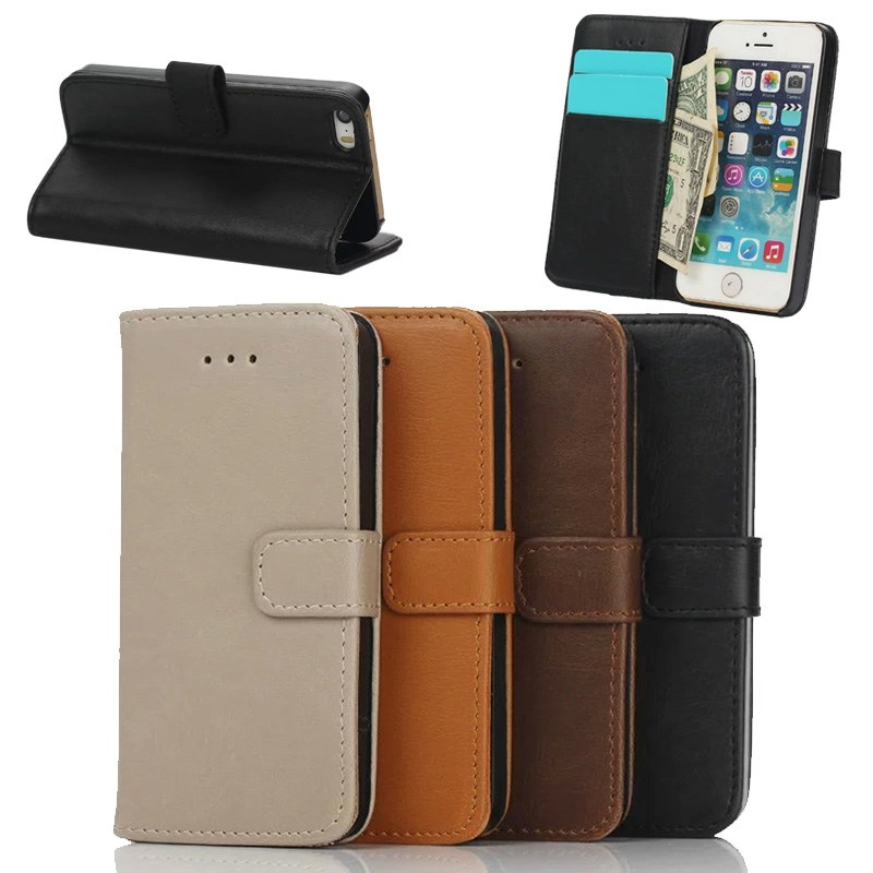 Retro Crazy Horse Pattern Leather Wallet Case for iPhone se with stand, for iphone se vintage case leather