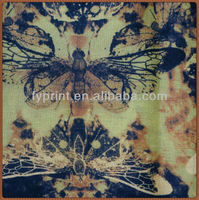 Custom digital printed 100% polyester linen look fabric