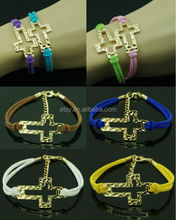 Outline cross charm suede best friends bracelet