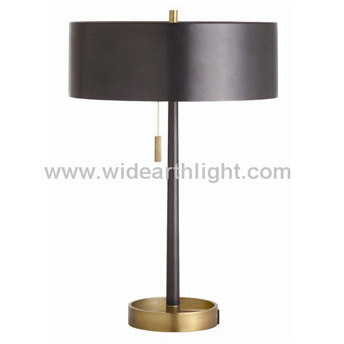 UL CUL Listed Traditional Design Hotel Metal Drum Table Lamp In Black/Brass Finish T80159