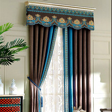 Yuhong manufacturer ready made blinds curtains natural chenille fabric for warm house curtain