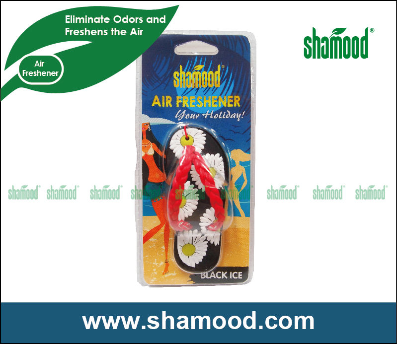 Shamood New Designed Scented Plastic Black Ice Flip-Flop Car Gel Air Freshener