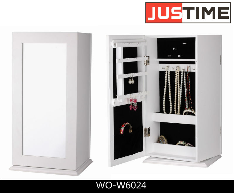 furniture mirrored jewelry cabinet, rotate cabinet, jewelry display cabinet