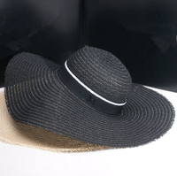 2016 small sweet wind Sun straw hat Ms summer hat black letters Big brim hat