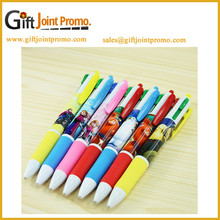 Multi color 4 in 1 touch Plastic Ball Pen heat transfer print cartoon pen
