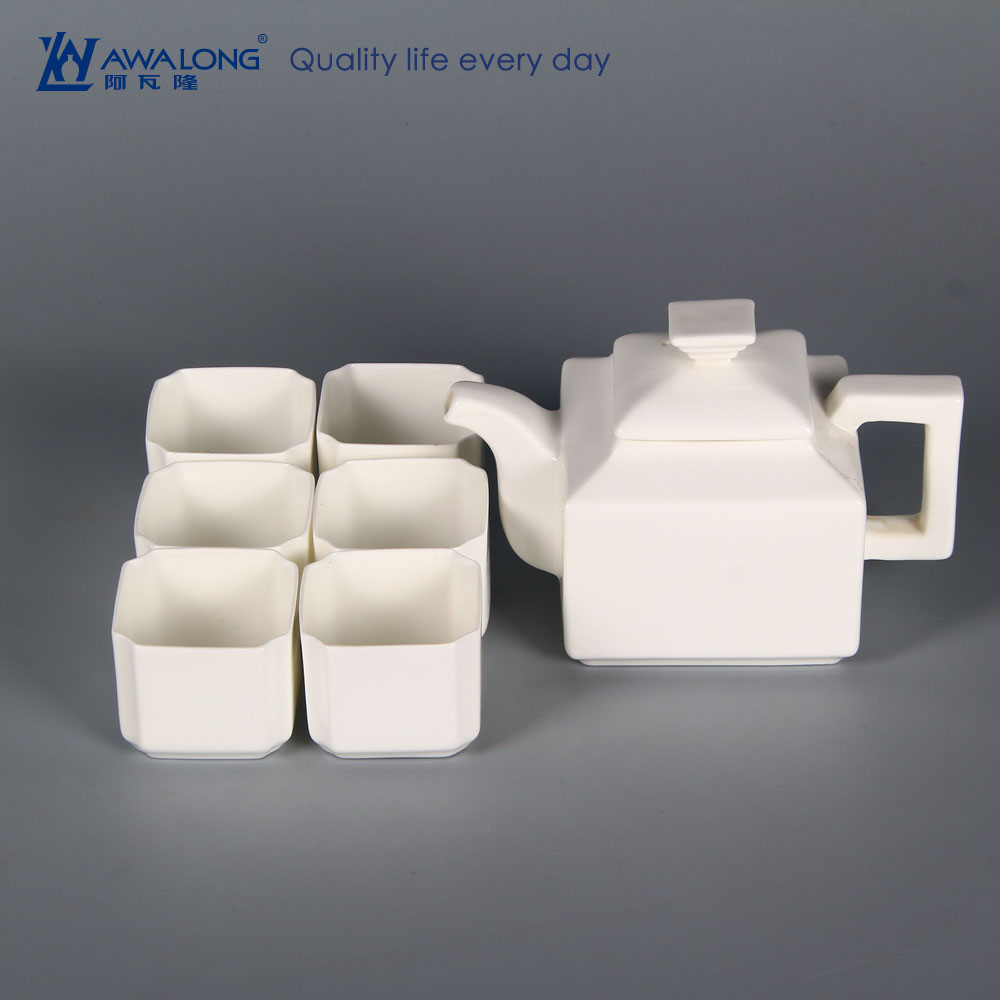 Promotion classical summer porcelain cheap small white teapot / individual cool ceramic teapots and square cups