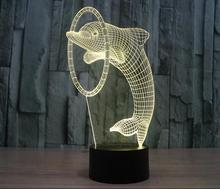 New products creative lovely dolphin led night lights 3D light 3D lamp for Christmas gift
