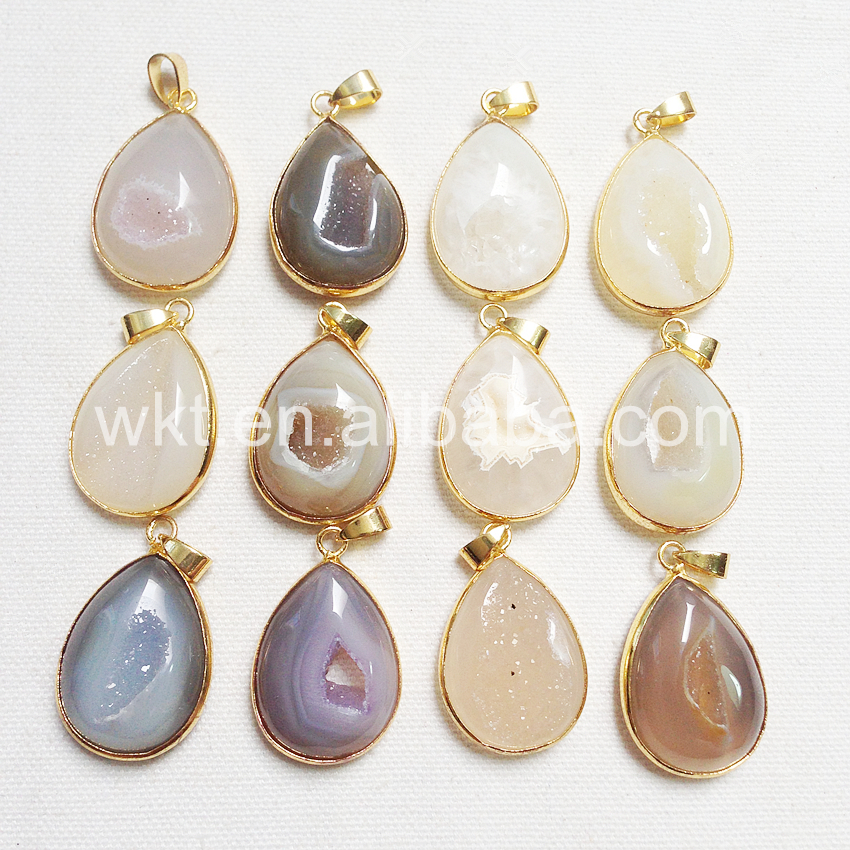 WT-P815 Wholesale Hot Natural window Geode druzy agate pendant with 24k gold bezel