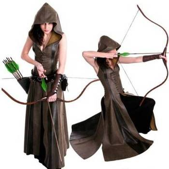 New Halloween costume Europe and the United States S-2XL medieval female ranger Robin Hood role-playing costume PGWC6539