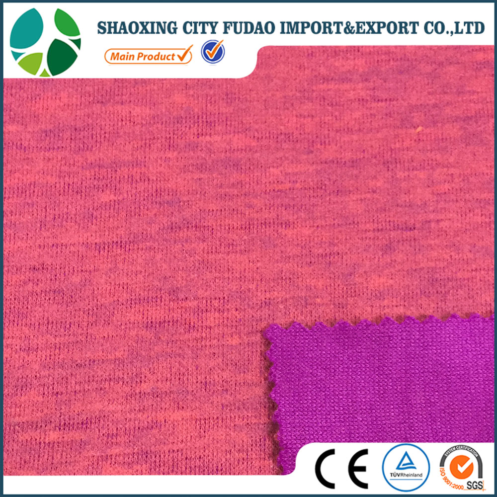 Double layer peach finished knitted acrylic polyester suiting fabric