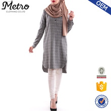Wholesale Cotton Long sleeve striped muslim blouse