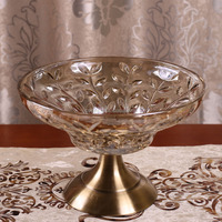 Best selling top sale hand carved glass fruit plate in many style