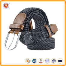 Hot Sale Plain High Density Man Braided Stretch Elastic Belt With Mantel Buckle