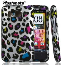 Leopard Print Cover Phone Accessories For HTC Inspire 4G 2D Rubberized Crystal Hard Design Case