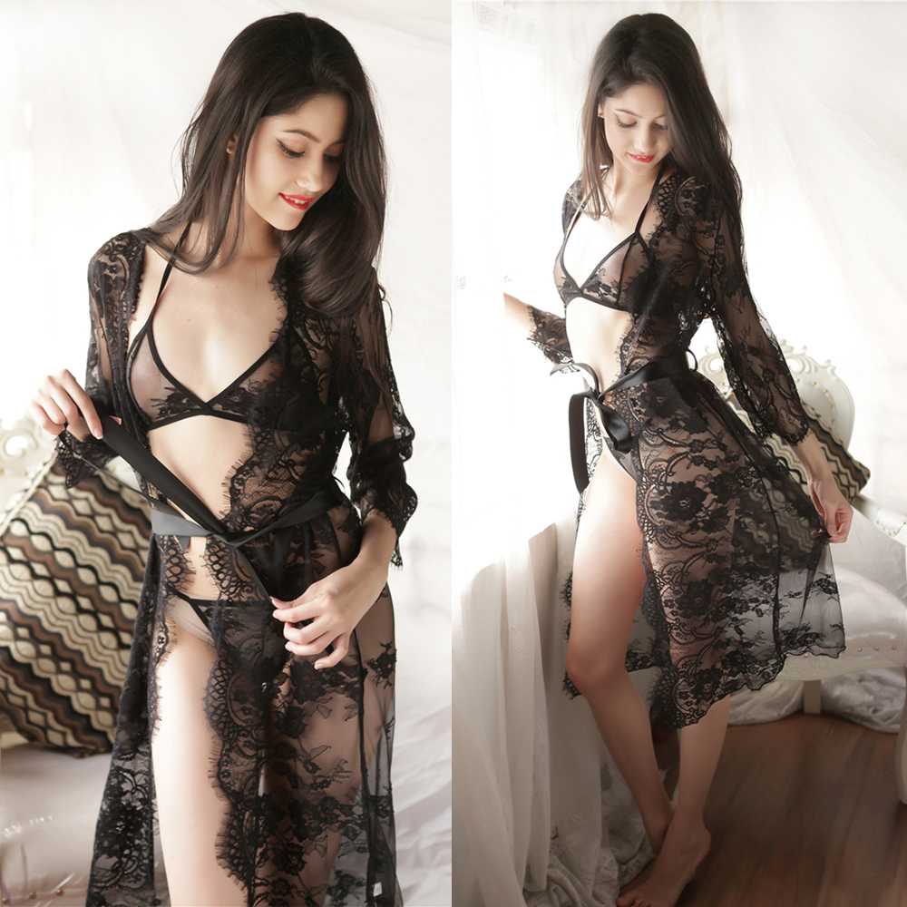 Women Plus Size Sexy Lace Dress Sleepwear See Through Erotic Babydoll Lingerie Costumes Underwear With Bra and Panties Set