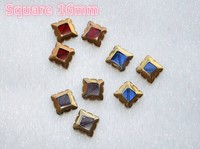 new custom design glass crystal sew on stone plated gold side suqare 16mm for brand clothing decoration