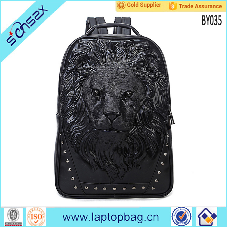 Lion image animal PU leather computer laptop satchel backpack bags