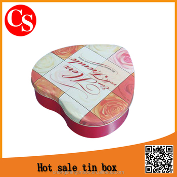 Custom heart shaped tin box for chocolates/tin box