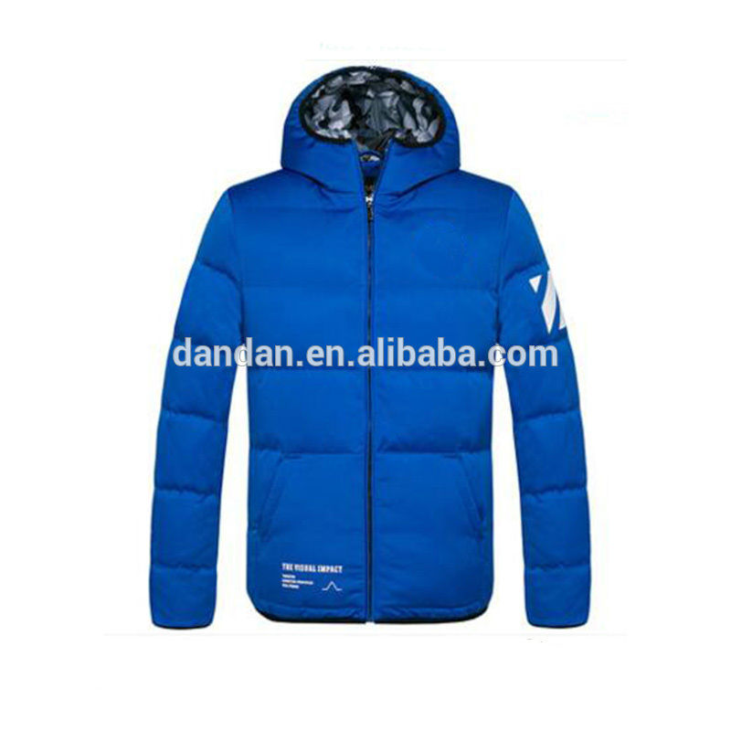 Top Quality Navy Blue Hooded Mens Thick Down Jacket For The Winter