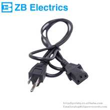 Hot ZB-03E 3 pin plug American power cord 3 cores UL CUL approved 125V NEMA5-15P to IEC 320-C13 Connector US power cords ZB-03QT