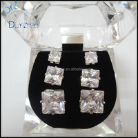 New Style Wholesale AAA white stone square earrings