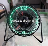"New hot sale 6"" metal patented desktop USB led light clock fan, brushless motor air cooler strong wind fan"