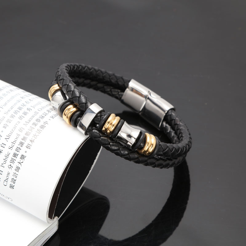 double rope 20cm long stainless steel leather bracelet for women