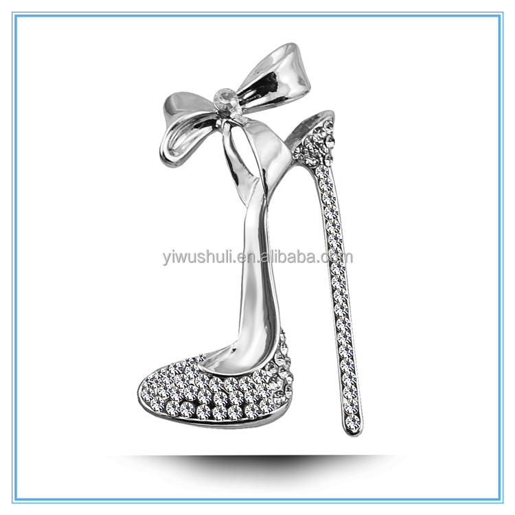Wholesale Austria crystal brooch jewelry, diamond wedding brooch high heels shaped brooch