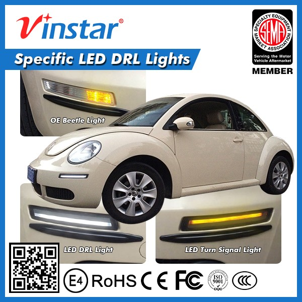 Vinstar new design car accessories super bright led drl with fresh amber turn signal light for vw beetle 06-10