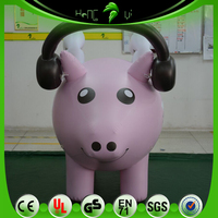 PINK Inflatable Music Pig With White Wings, Custom Cute Helium Advertising Pig Balloon