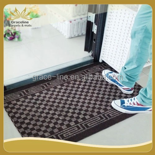 small check polyester door mat