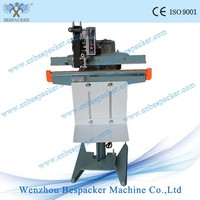 PFS-350 Aluminum Frame Foot Operated Pedal Poly Plastic Bag Heat Sealing Machine With Coder