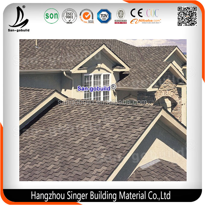 2016 New Construction Building Materials 3-tab Fiberglass Asphalt Roofing Tiles