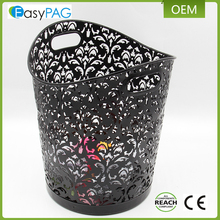 Wholesale hot sale metal carved hollow flower pattern design wastebasket