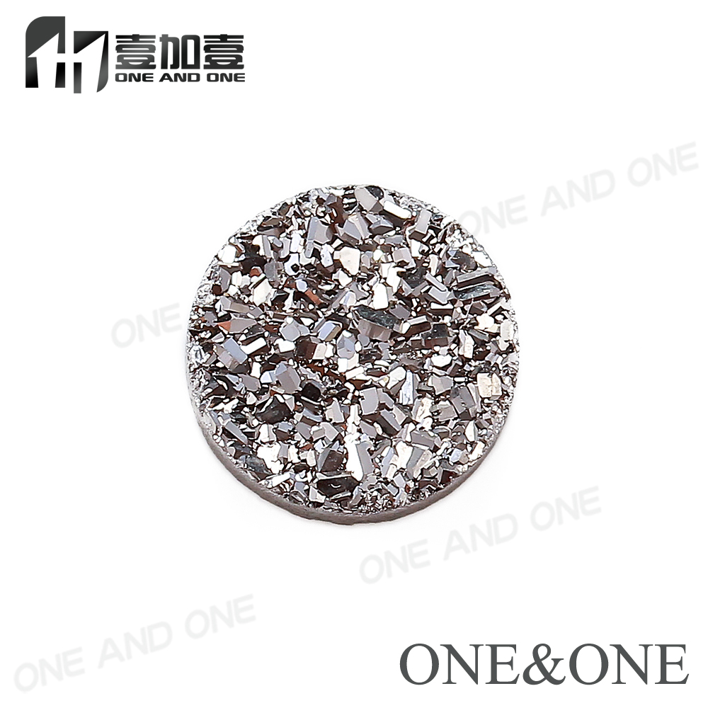 Factory Price Gems Stones Druzy 100% Natural Agate Drusy Stones Bead druzy cabochons wholesale Round 8mm Silver