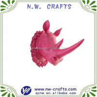 Resin Marcaron pink animal Rhinoceros head wall hanging sculpture