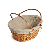 Brown Color Oval Wicker basket with cute liner on sales